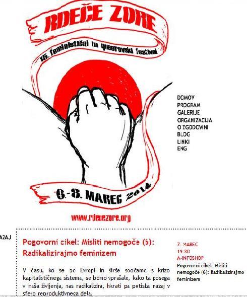 Pogovorni cikel Misliti nemogoče (6) Radikalizirajmo feminizem!